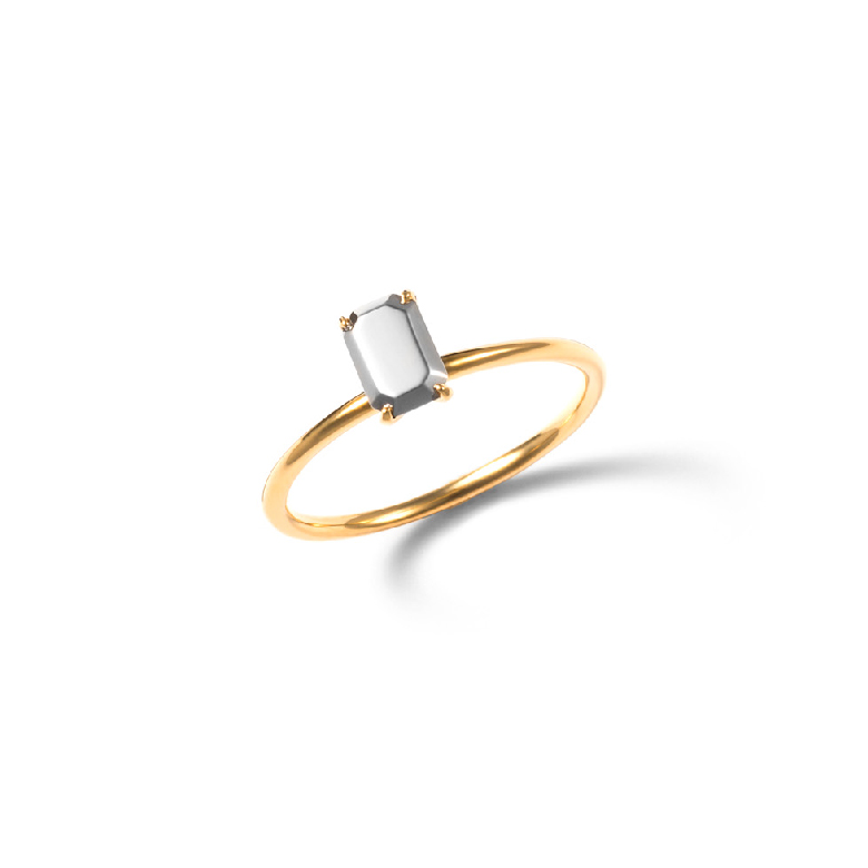MATERIAL : K18 Gold + K18 WhiteGold Mimicry Rectangle Ring