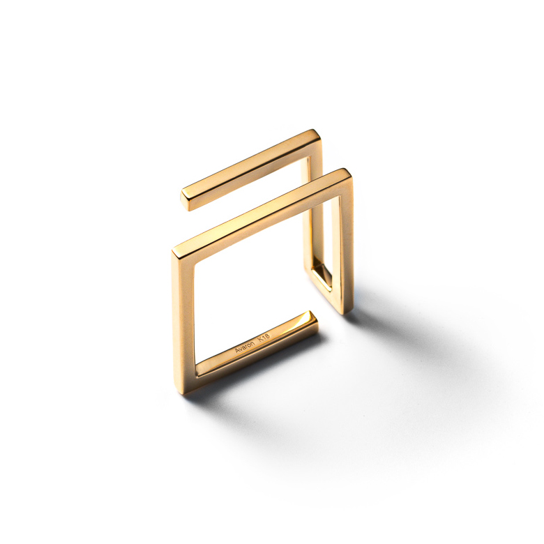 MATERIAL : K18Gold Unsquare Ring / Double