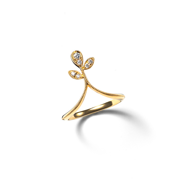MATERIAL : K18Gold Dress up Leaf Ring / Diamond