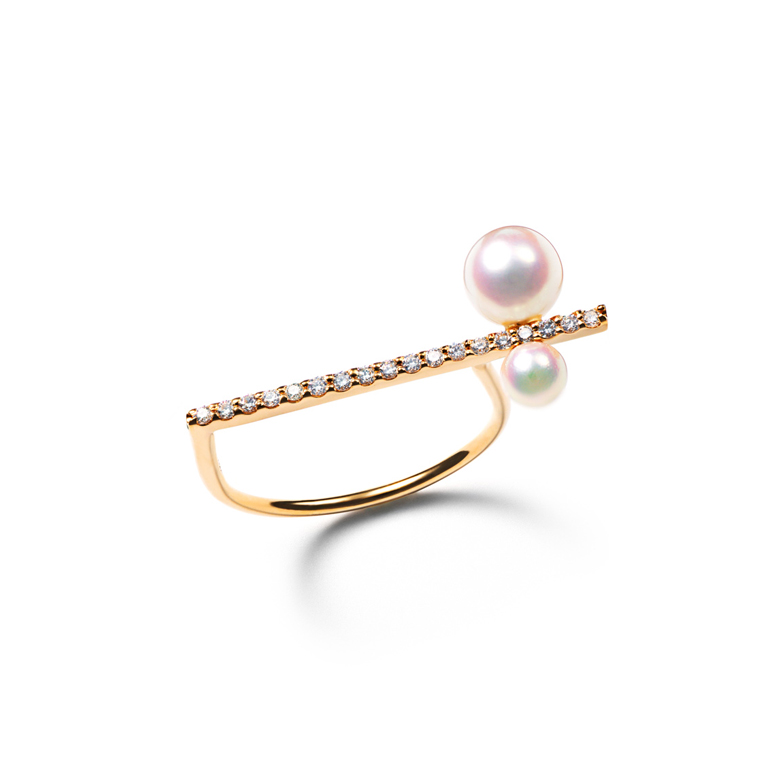 MATERIAL : K18Gold Asymmetry Ring / Diamond, Akoya pearl