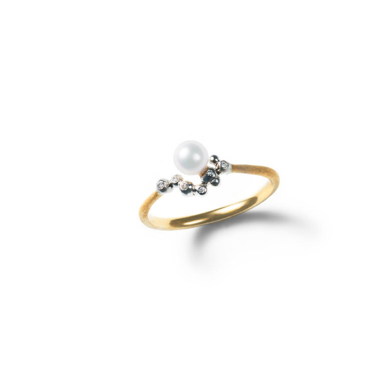 MATERIAL : K18 Gold Bubbles Ring / Diamond, Akoya Pearl